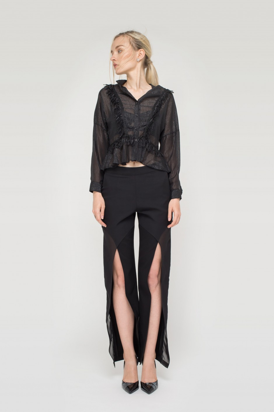Black Split Pants
