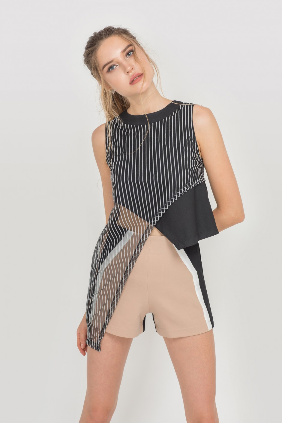 Diagonally Layered Black Top