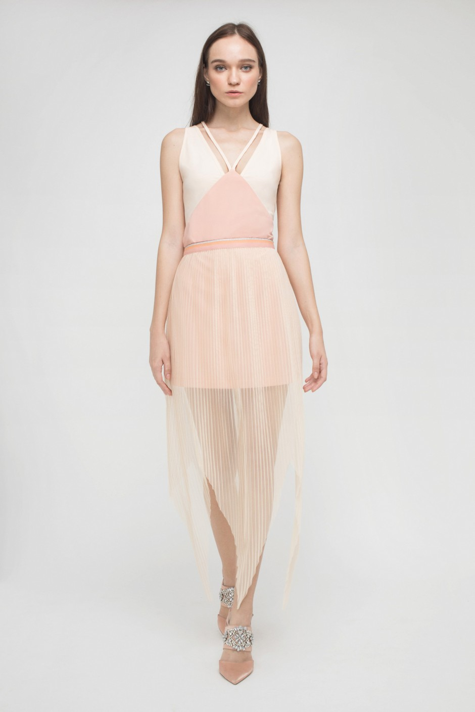PLEATED TULLE SKRIT