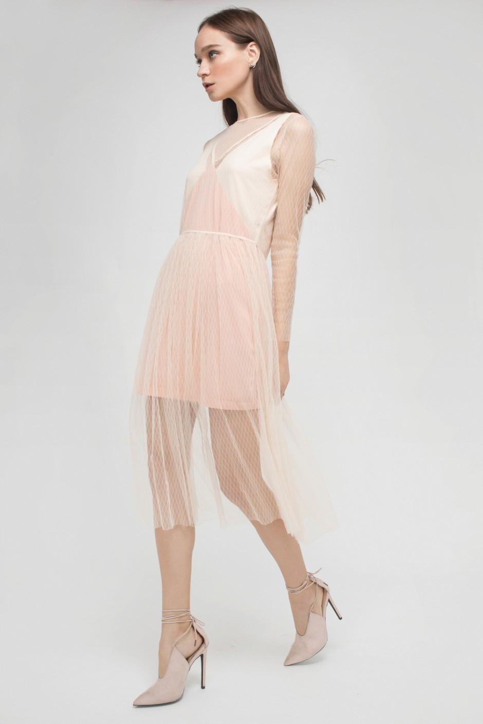 NUDE NET EDGY ROMANCE DRESS