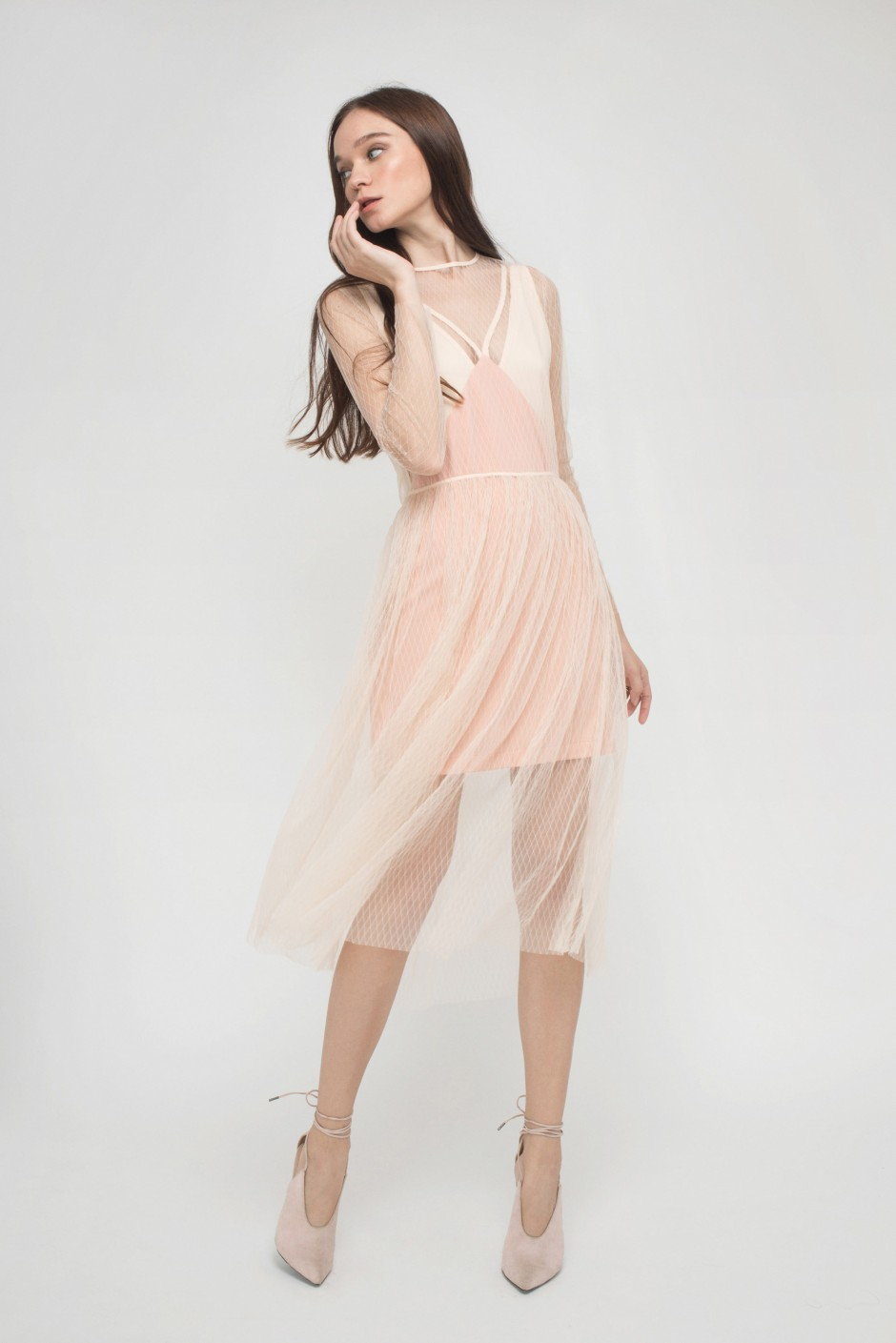 NUDE NET EDGY ROMANCE DRESS