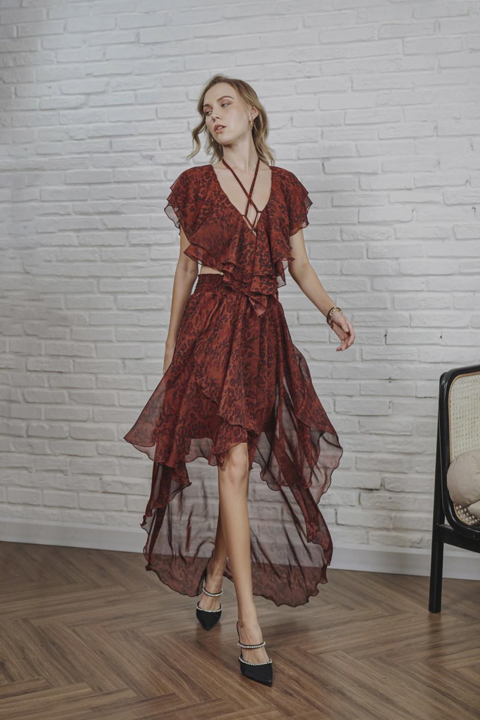 Burgundy Alina Dress