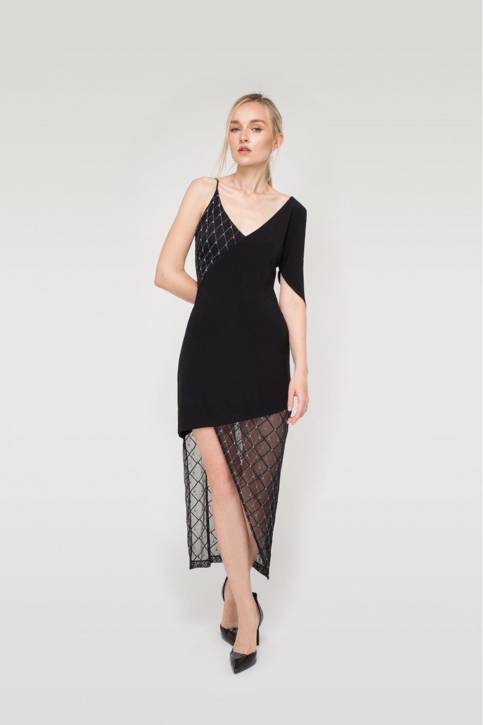 Asymmetric Sparkling Black Dress